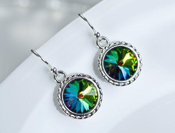 Rainbow Vitrail Swarovski Crystal Rivoli Earrings by CrinaDesign73
