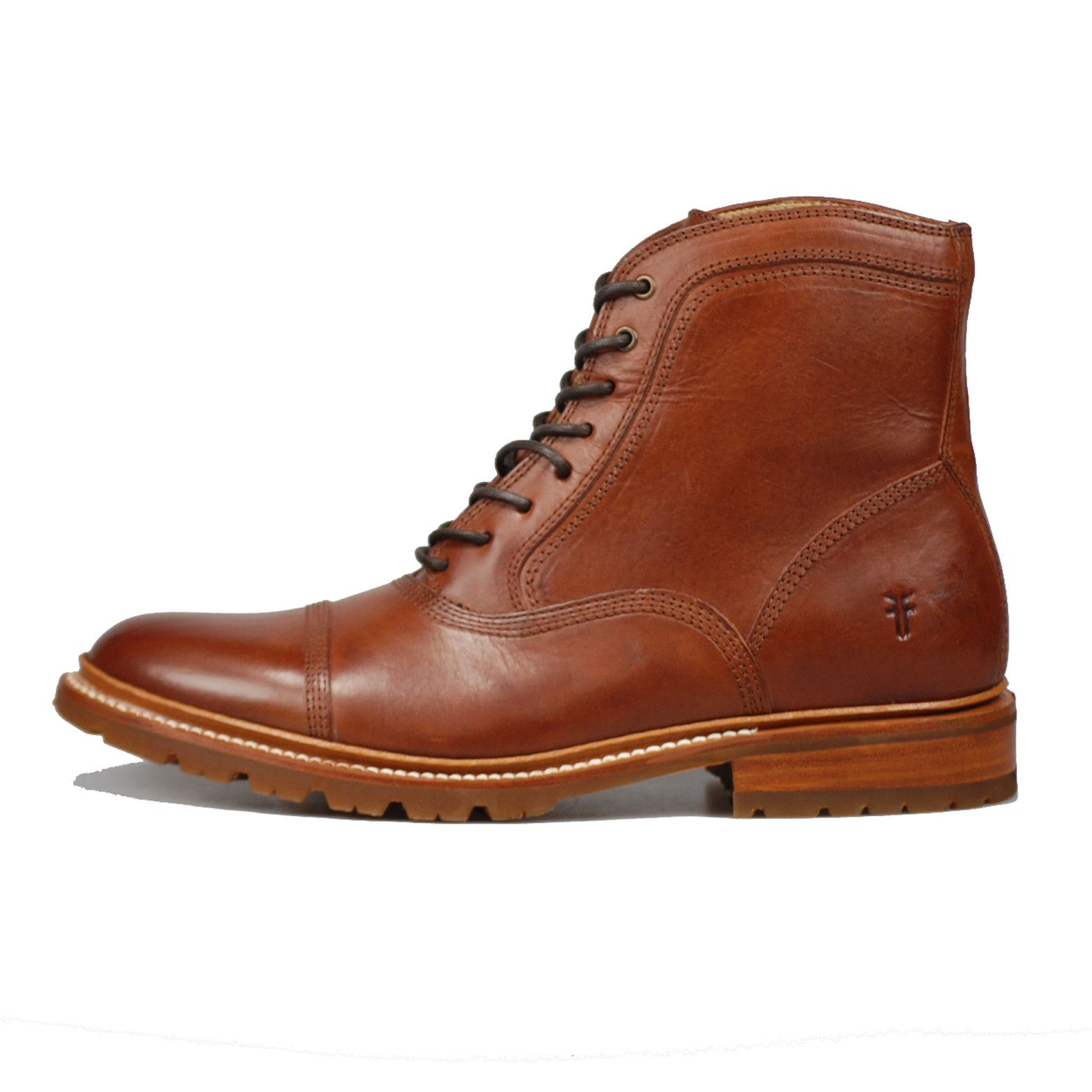 Frye James Bal Lug Boot - Leather lined - Rubber outsole - 6
