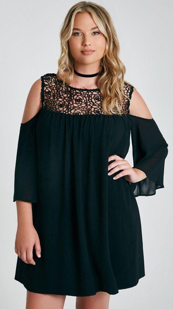 Plus Size Crochet Trim Cold-Shoulder Dress... - Fashion