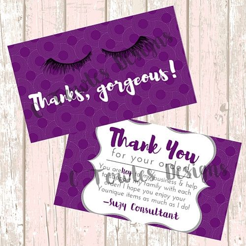 younique purple thank you business card digital by ctowlesdesigns