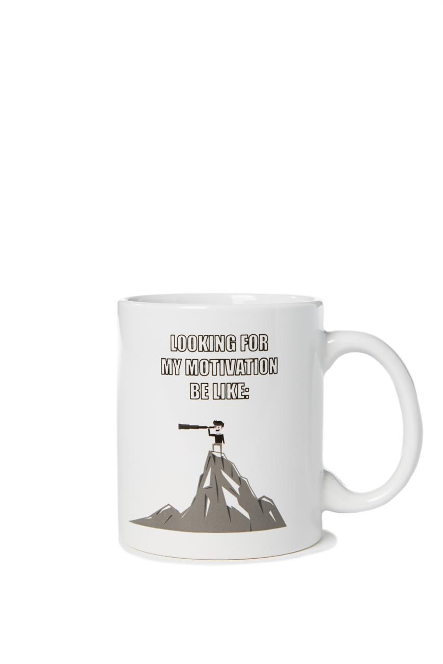 """""""Looking for My Motivation be like"""" mug @Typo"""