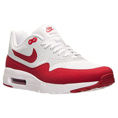 1f9a6b8532 Nike Air Max 1 Ultra Essential Mens 819476-106 White Red Running Shoes Size  7