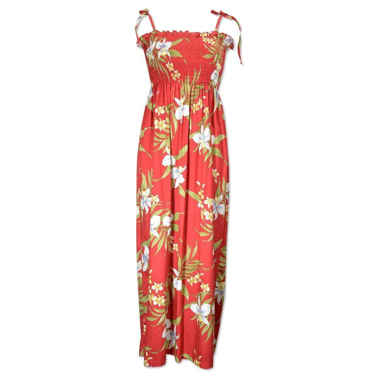 66a649eea84 Bamboo orchid red hawaiian maxi dress