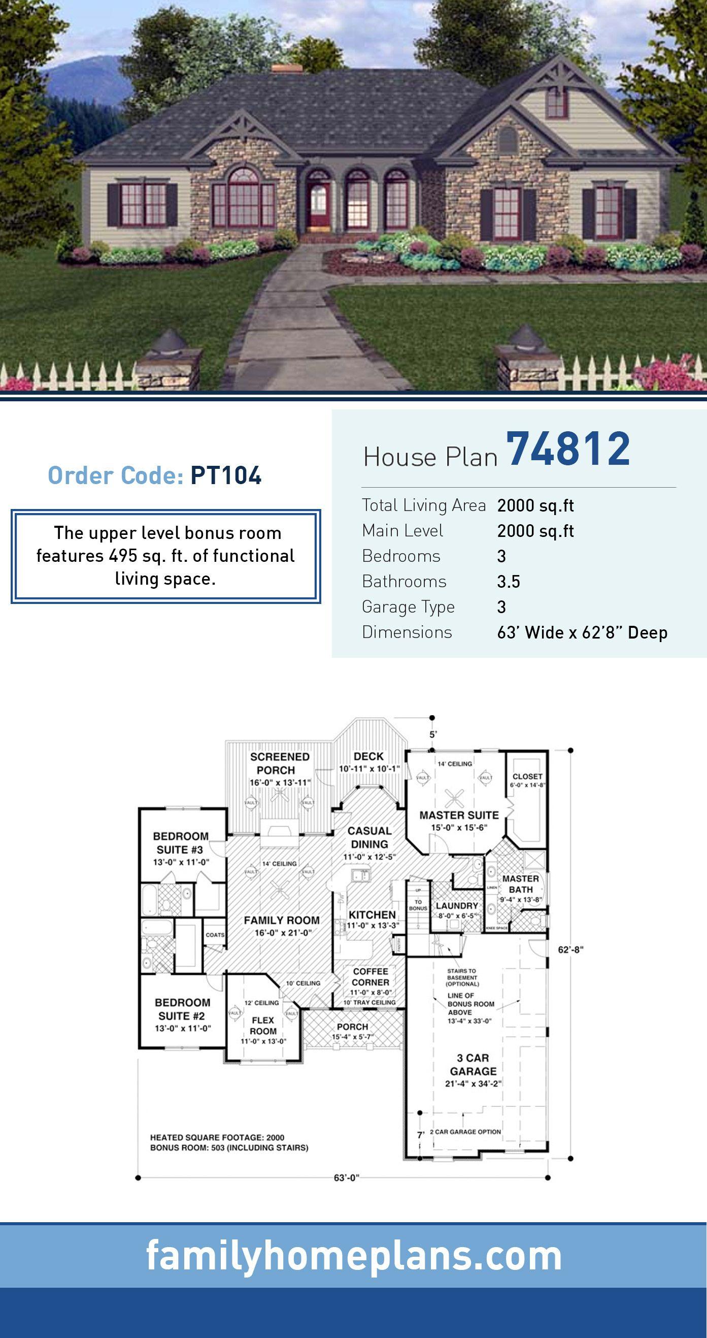 Craftsman European Ranch House Plan 74812 Craftsman
