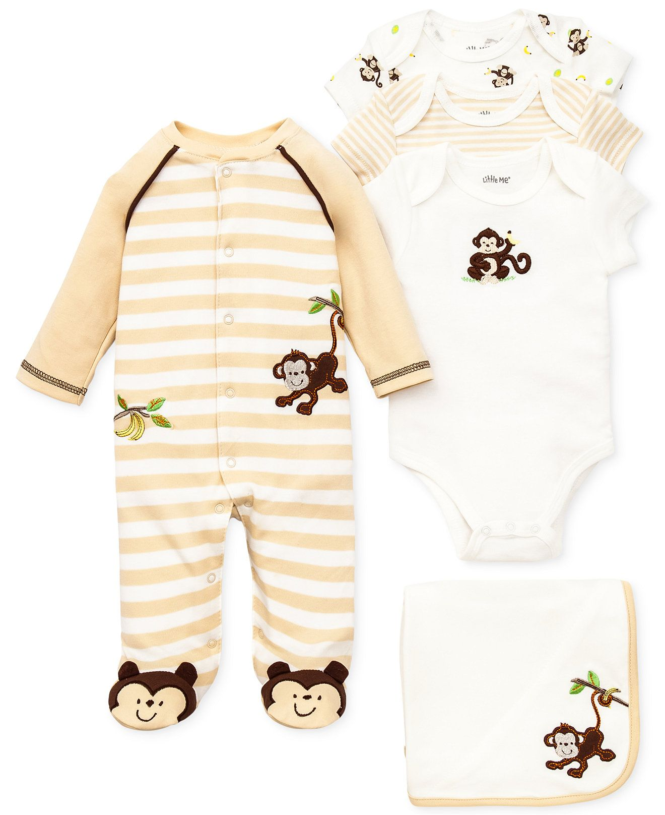 Size 24 months Freeship NEW Little Me Boys 3 Piece Romper /& Hat Set