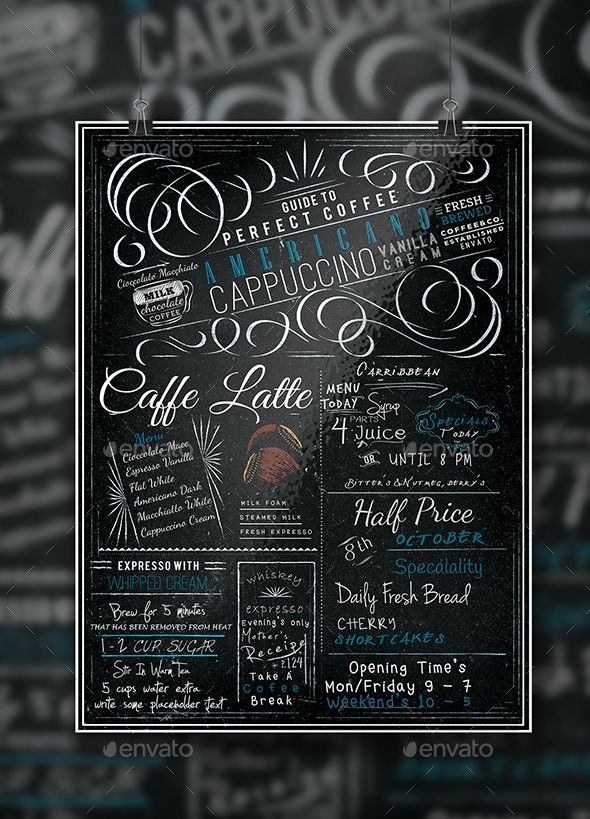 Blackboard Coffee Menu A4 Flyer | Coffee Menu, Menu Templates And