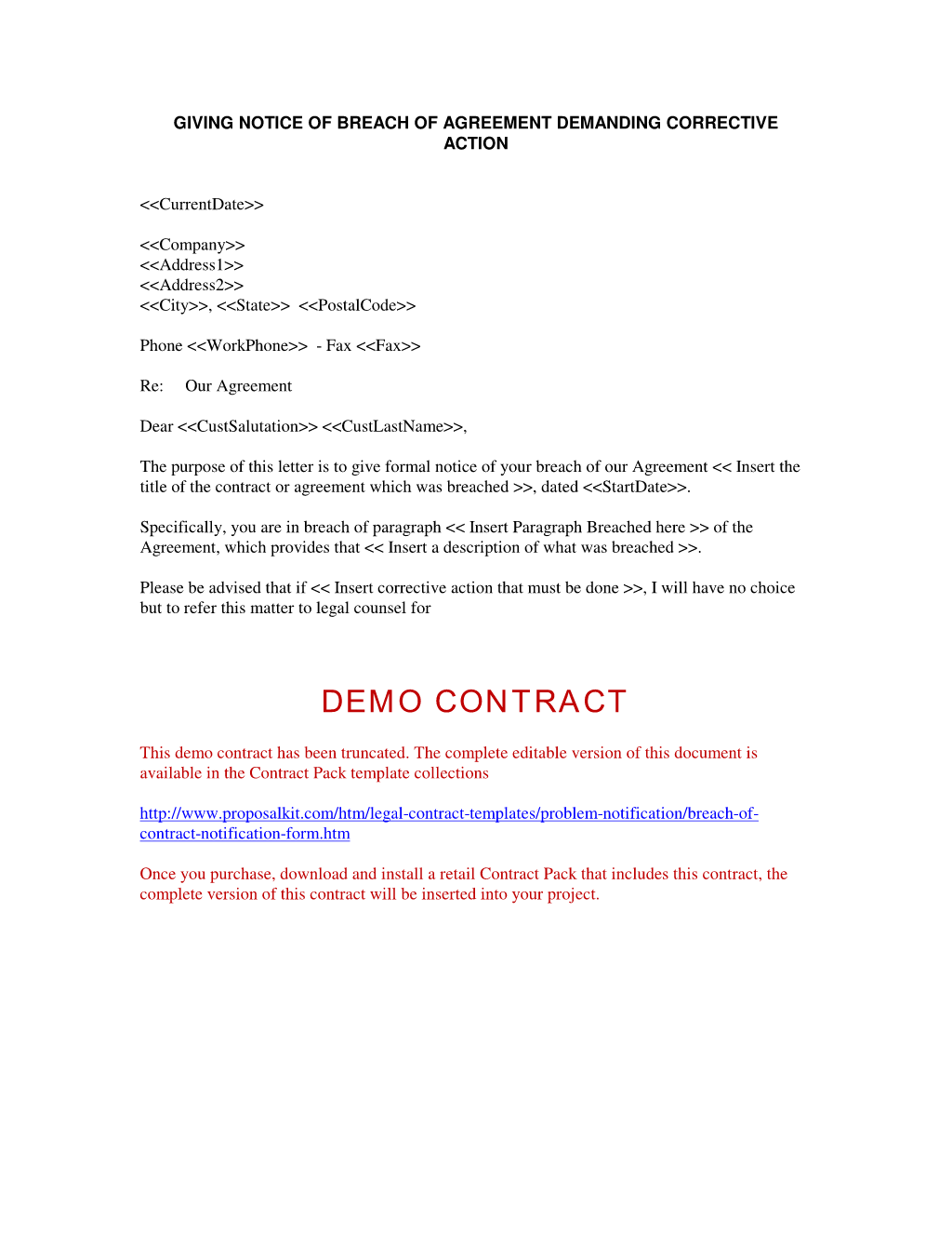 Breach Of Contract Notification Form  Notification Of Problem