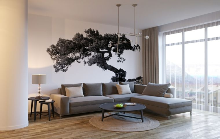 Parete bianca di un soggiorno decorata con sticker murale disegno