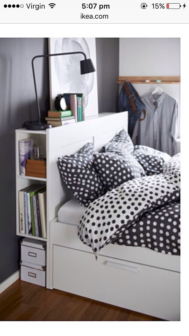 Ikea Brimnes Queen Bed For Sale In Good Used Condition Has A Few Little Marks Chips 4 X La Frame With Storage Headboard Organization Bedroom