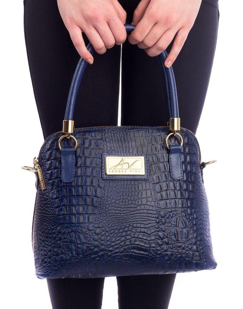 4f9592c479f80 Bolsa pequena de mão em couro Andrea Vinci azul - Enluaze - Bolsas,  mochilas, roupas e acessórios
