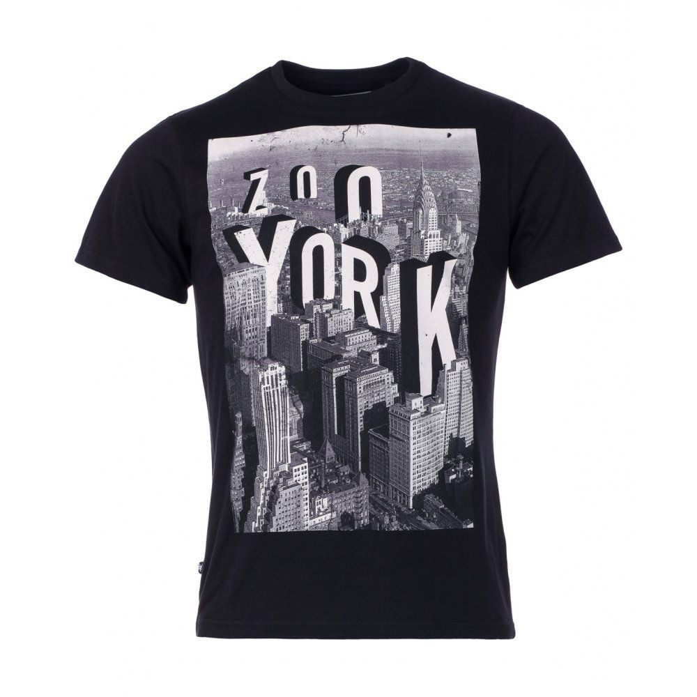 Zoo York Mens Black Top Of The Rock Front Print T-Shirt