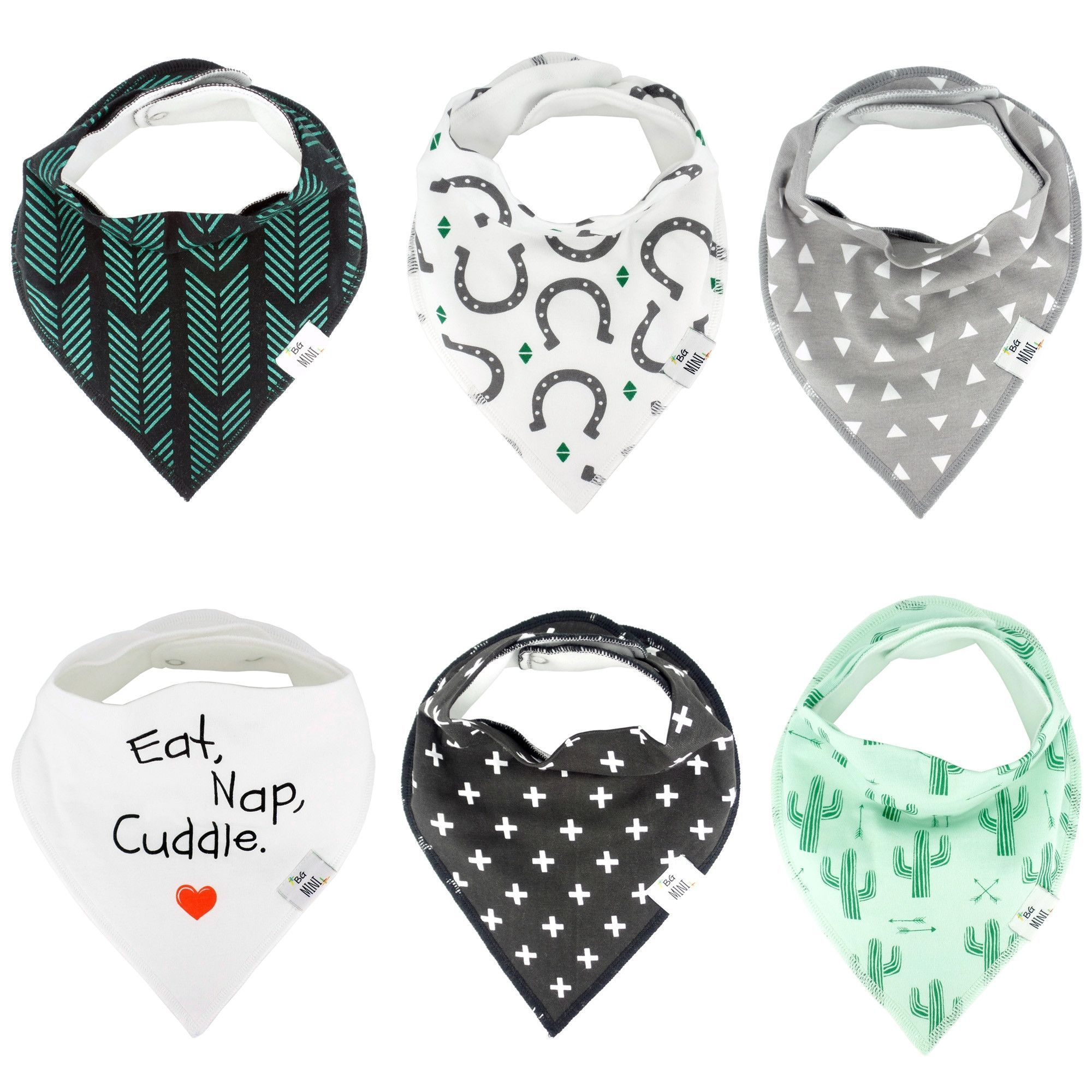 BG Mini Baby Bandana Drool Bib for Girl Simone 6 Pack  Absorbent Organic Cotton