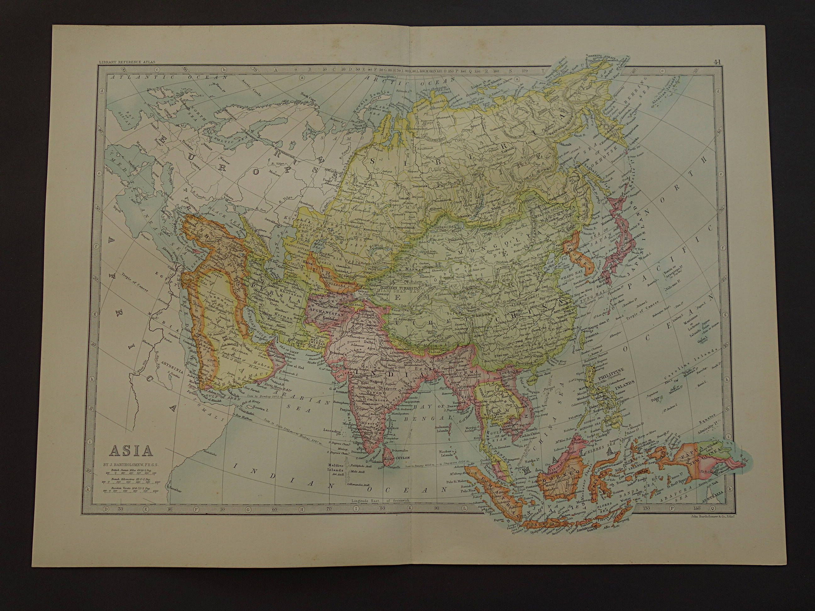 Asia old map of asia large 1890 original antique english print of asia old map of asia large 1890 original antique english print of asian continent vintage maps sciox Gallery