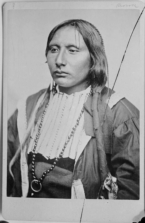 """Adoeette, aka: Big Tree (1845?-1871) – Known as Adoeette to his Kiowa tribe, he was known to the white man, as """"Big Tree."""" In 1871, Big Tree, along with Chiefs Satanta and Setangya, and other Kiowa warriors were dissatisfied with the reservation system began to make a number of attacks on wagon trains in Texas. http://bit.ly/ZvPELa"""