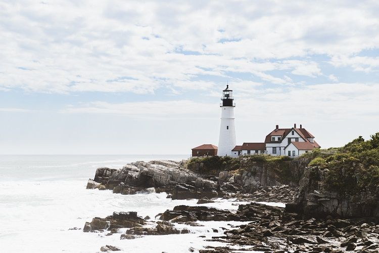 Lighthouse at Cape Elizabeth in Maine New England