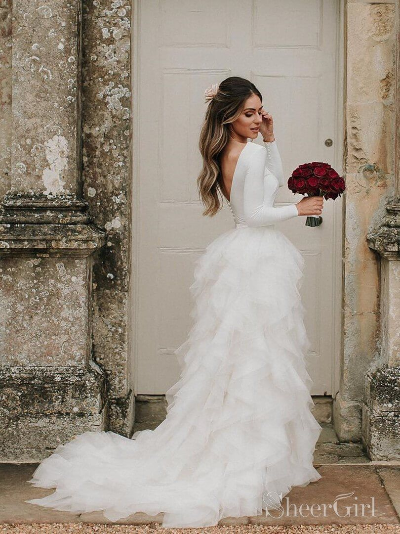 Long Sleeve Simple Ivory White Wedding Dresses With Ruffle Skirt