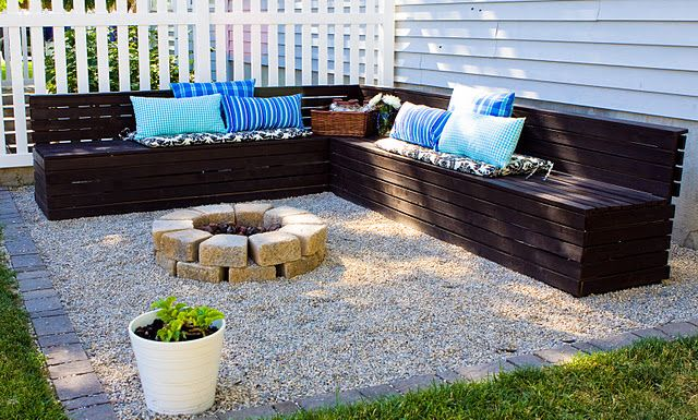 Fire-pit, pea gravel, & wood benches.   Fire pit backyard ...