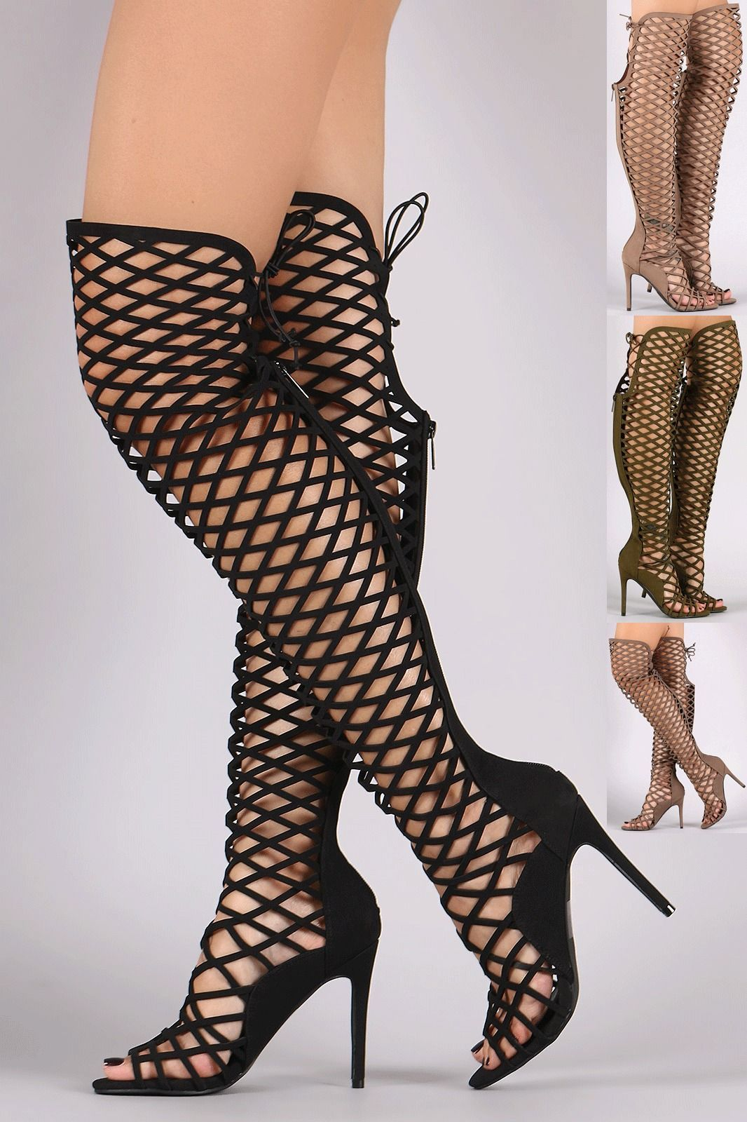 1292e6780382f Womens Caged Lace Up Gladiator Stiletto High Heel Sandal Open Toe Boot Knee  High