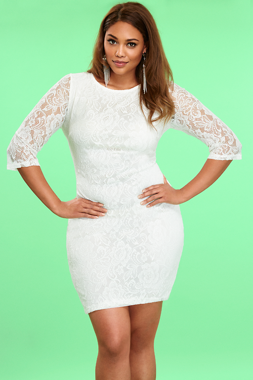 Plus Size White Willow Lace Dress | Girls night out dresses ...