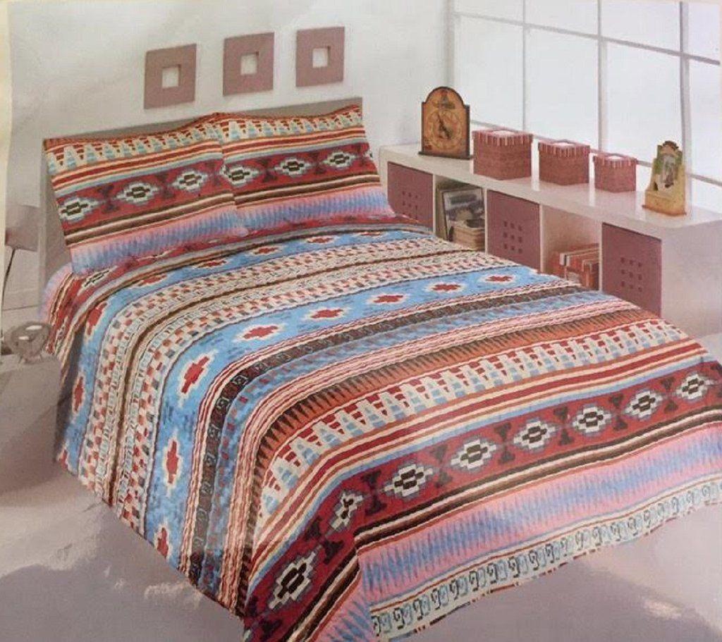 Comfy 3 Piece Southwestern Design Quilt Set Bed spreads