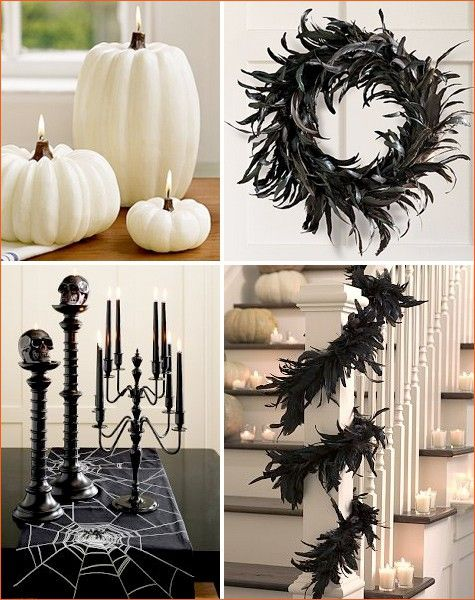 schwarz wei e halloween party deko ideen federkranz diy. Black Bedroom Furniture Sets. Home Design Ideas