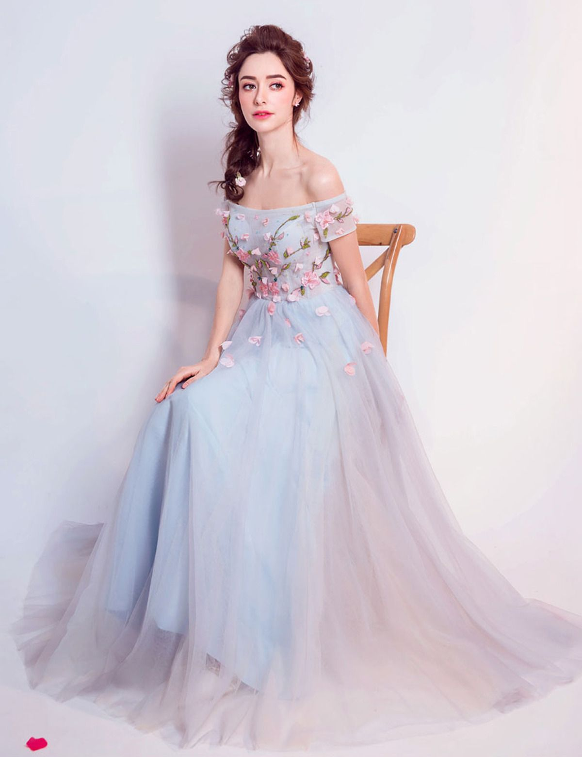 Beautiful Blue Tulle Off Shoulder Prom Gown Ball Dress Princess Prom Dresses Vintage Style Prom Dresses Formal Dresses [ 1560 x 1200 Pixel ]