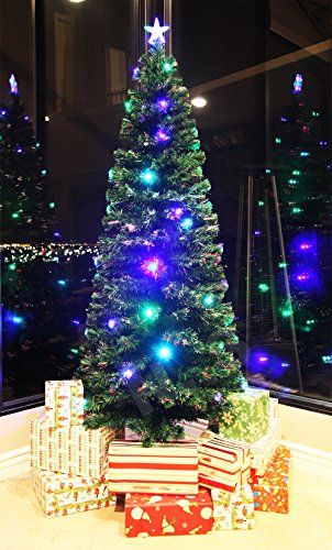 8 FT Prelit Fiber Optic  Multi Color LED Lights Artificial Christmas Tree With Star Topper and Stand ** Check this awesome product by going to the link at the image. #XmasSeasonalDcor