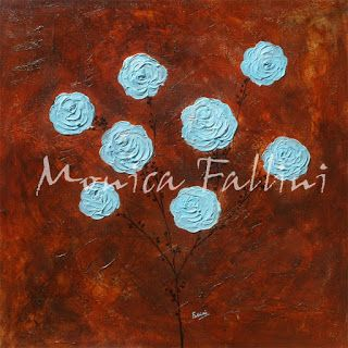 Paintings by Monica Fallini: Blue Roses on chocolate background contemporary ar...