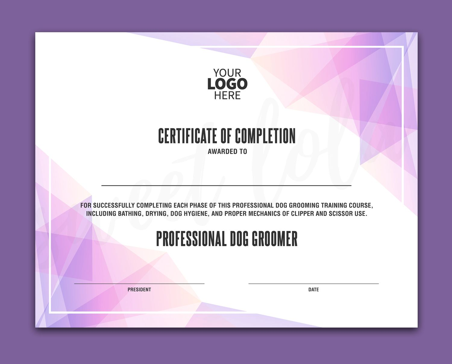 Certificate Template Instant Download Certificate Of Completion