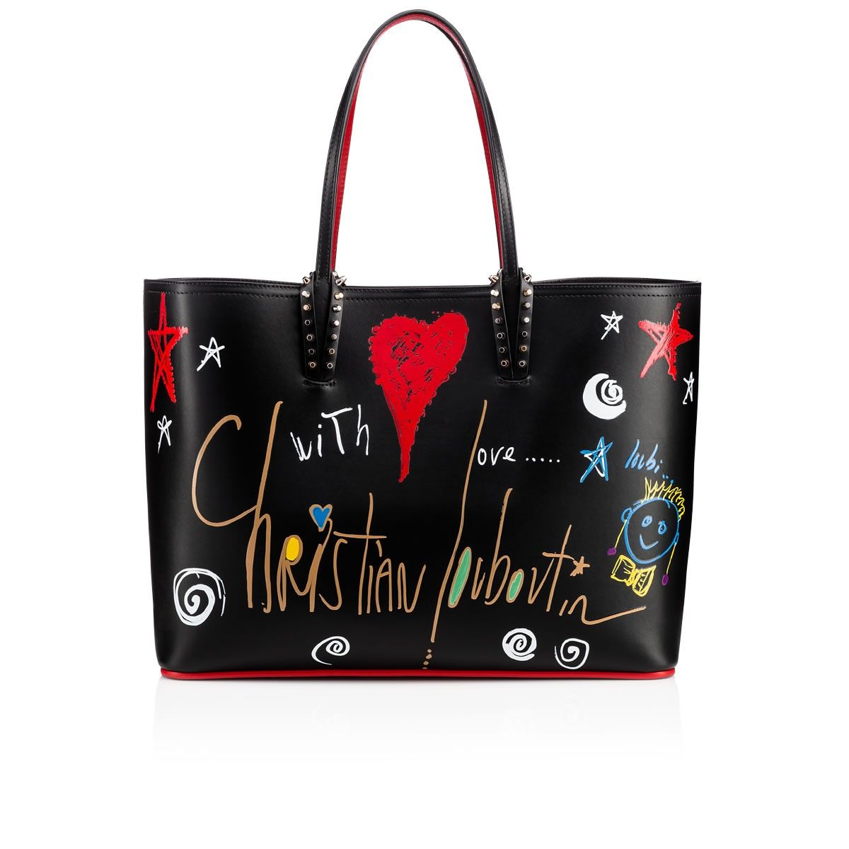 1519adb3a515 This black leather shopper is printed with Christian s hand-drawn  Loubitag   embellishment