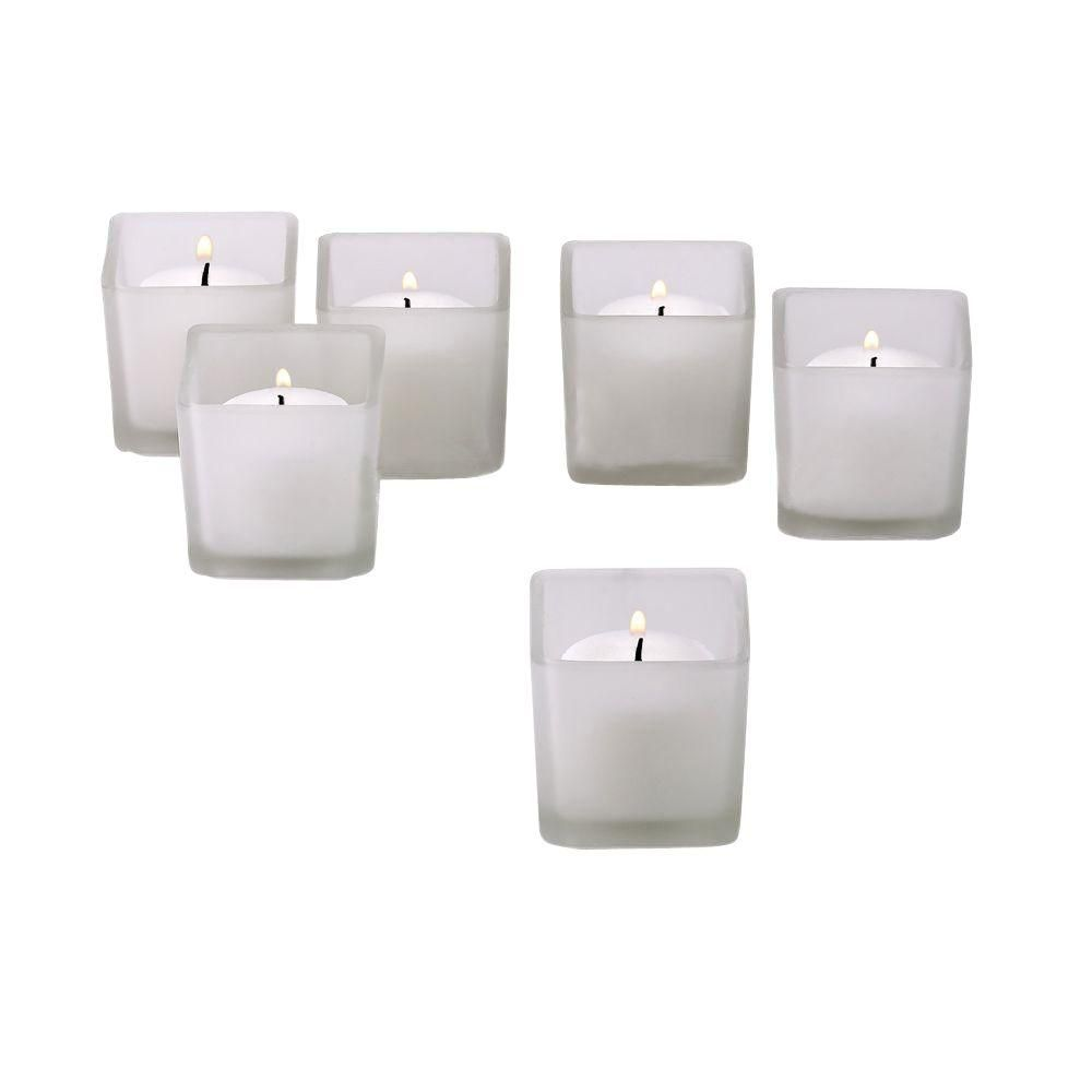 White frosted square votive candle holders with white votive candles