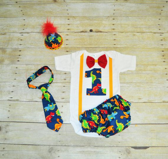Dinosaur First Birthday Outfit With Party Hat Cake Smash Boys Bodysuit Tie Diaper Cover