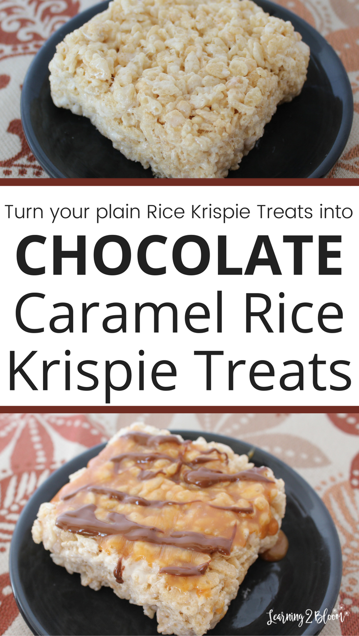 Chocolate caramel rice krispie treats are a simply easy to make snack or dessert for your kids or family to enjoy together.