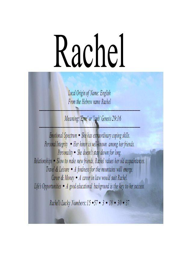 name means everything raquel rachel rachelle excellent coping