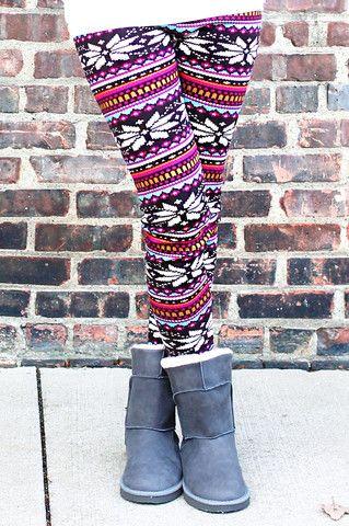 Festive Fair Isle Fur-lined Leggings - UOIONLINE.COM