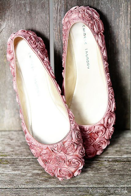 64307b19bf6346 Bridesmaids cute pink ruffle flower pumps  flats