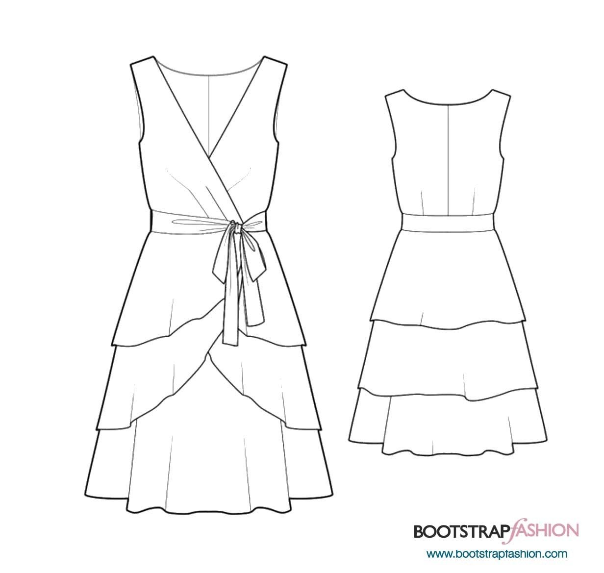 Custom-Fit Sewing Patterns - Dress With 3-Layered Skirt | Robes ...