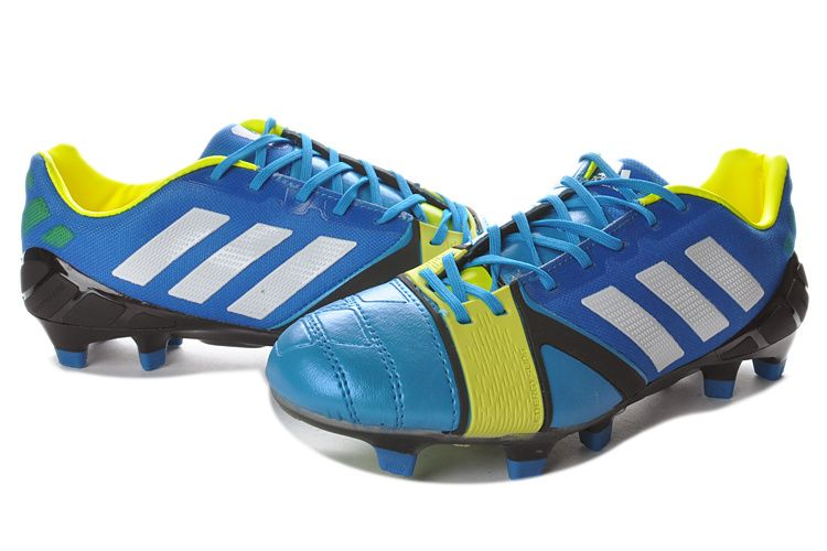 info for 9ecbb ab946 Chaussures de foot adidas Nitrocharge 1-0 TRX FG Bleu Blanc Electricity pas  cher