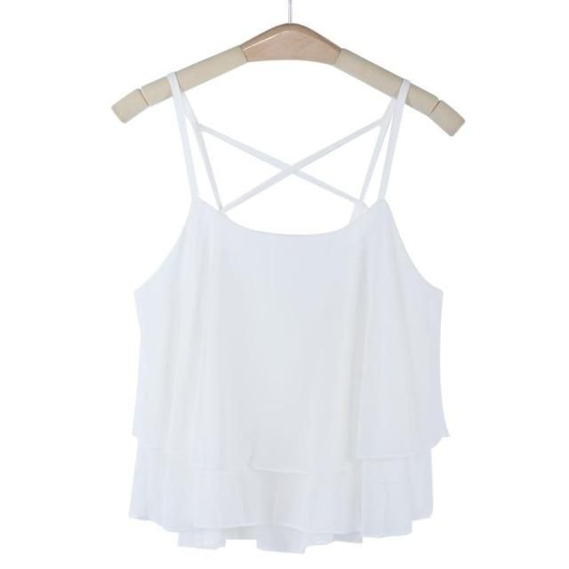 Newly Women Beach Short Vest Ruffle Chiffon Tank Tops Camis 160303 White One Size #chiffonshorts
