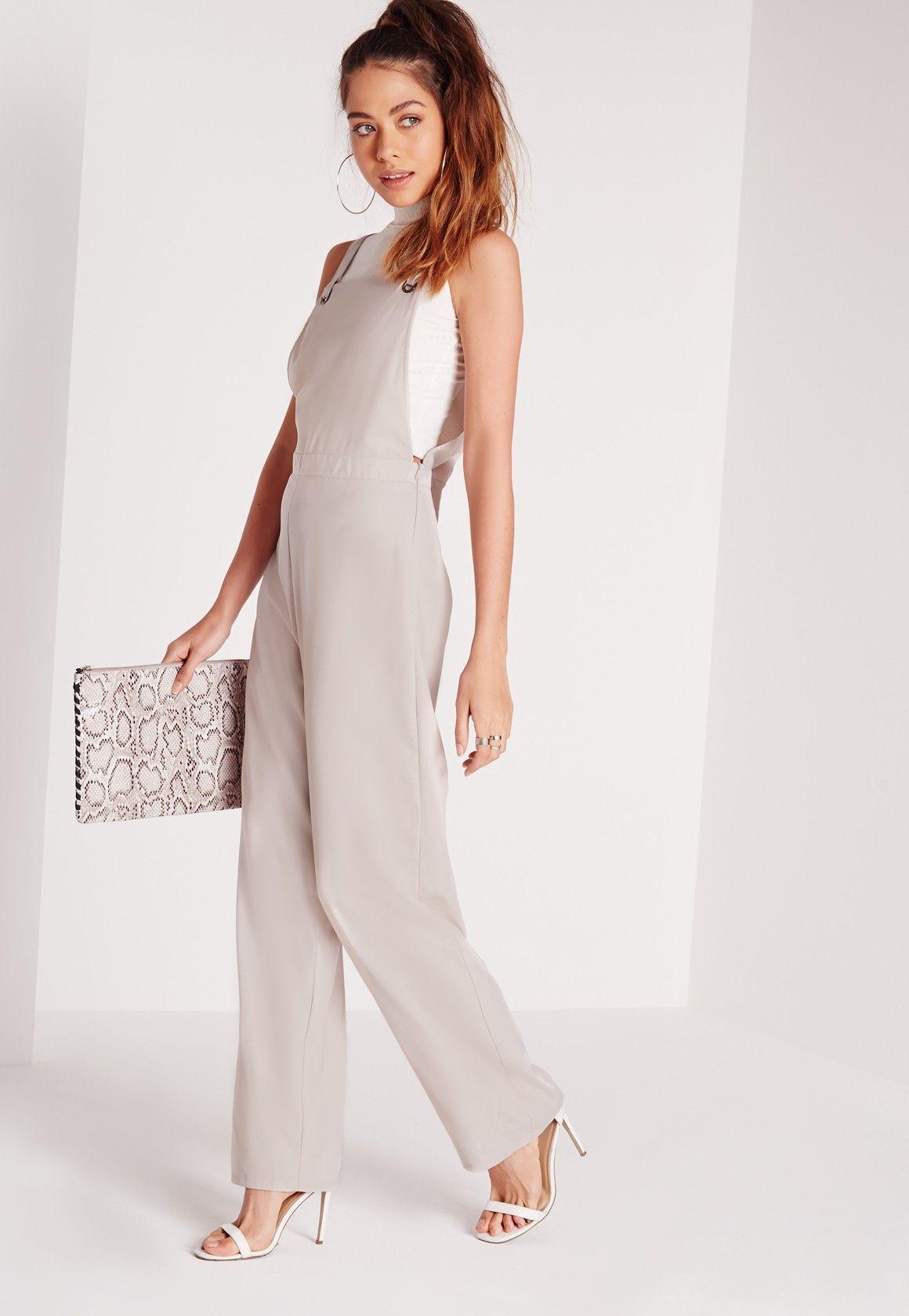Eyelet wedding dress  Missguided  Eyelet Dungaree Style Jumpsuit Grey  Wedding dresses