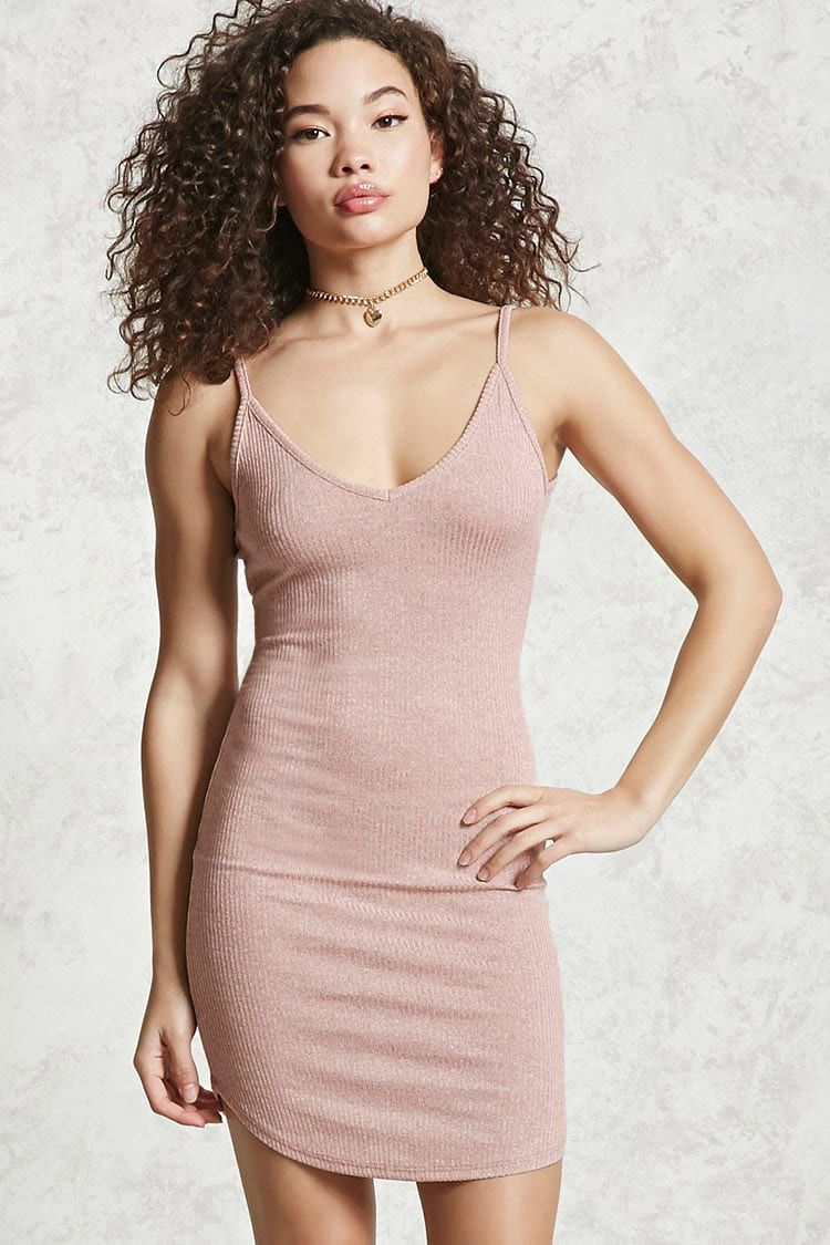 A ribbed knit dress featuring a V-neck 24f1b0f87