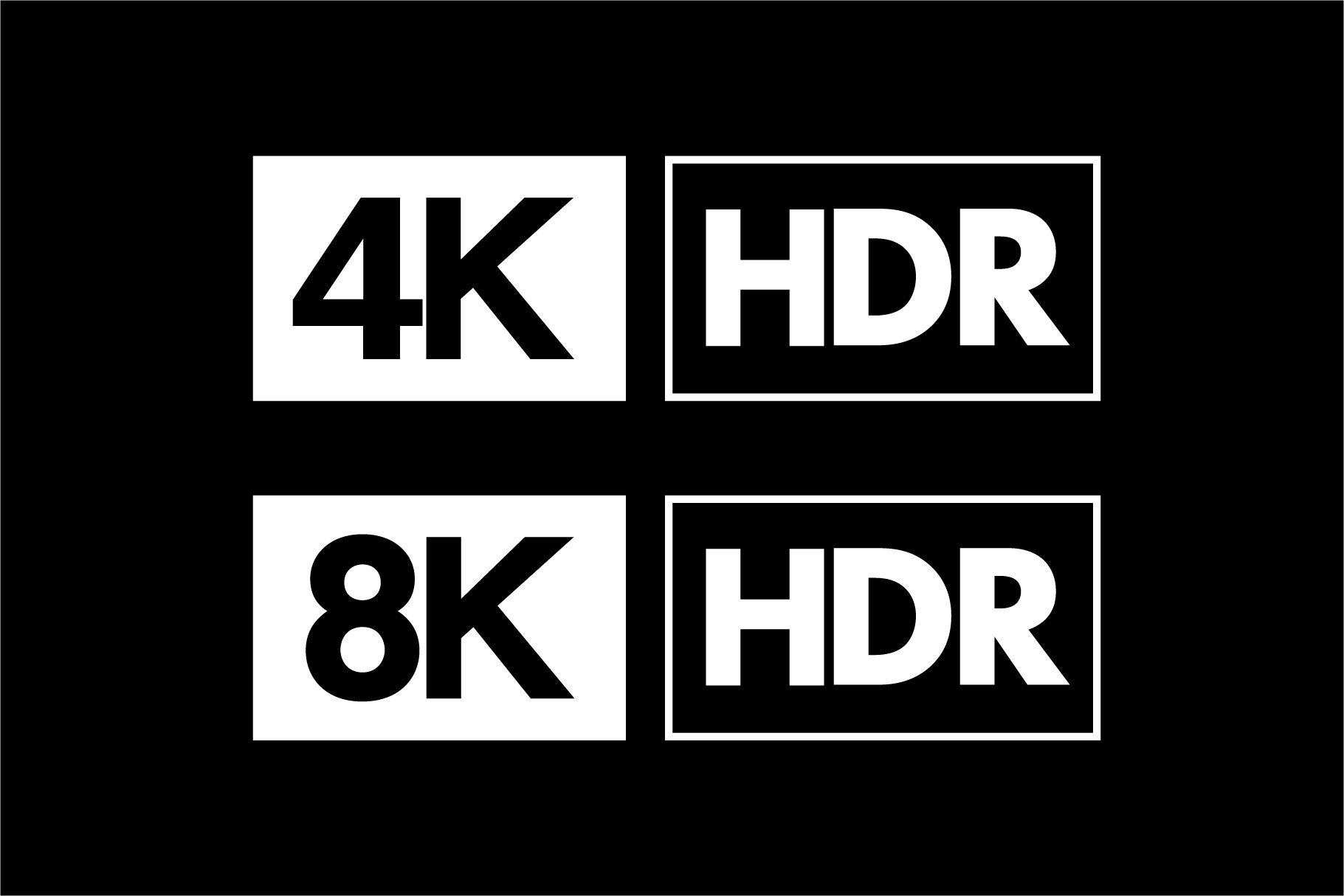4k 8k Ultra Hd And Hdr Logo Set Logo Set Infographic Templates Logos