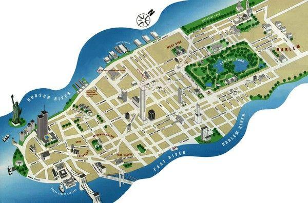 Manhattan Tourist Map Nyc Trip Pinterest: Map Of New York City Attractions Pdf At Slyspyder.com