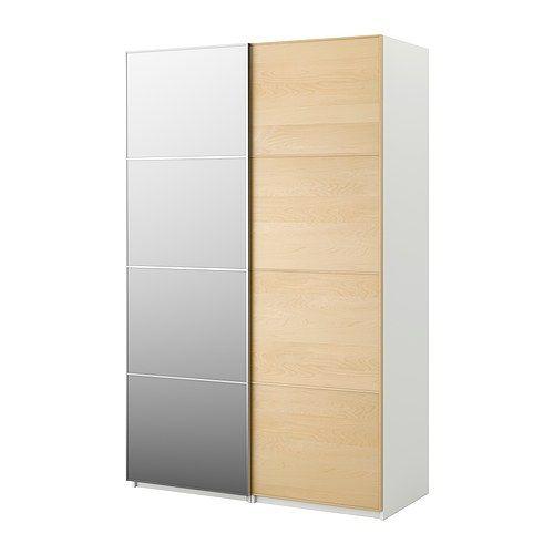 Beau IKEA PAX Wardrobe With Sliding Doors, White, Malm Mirror Glass/birch S$ 977