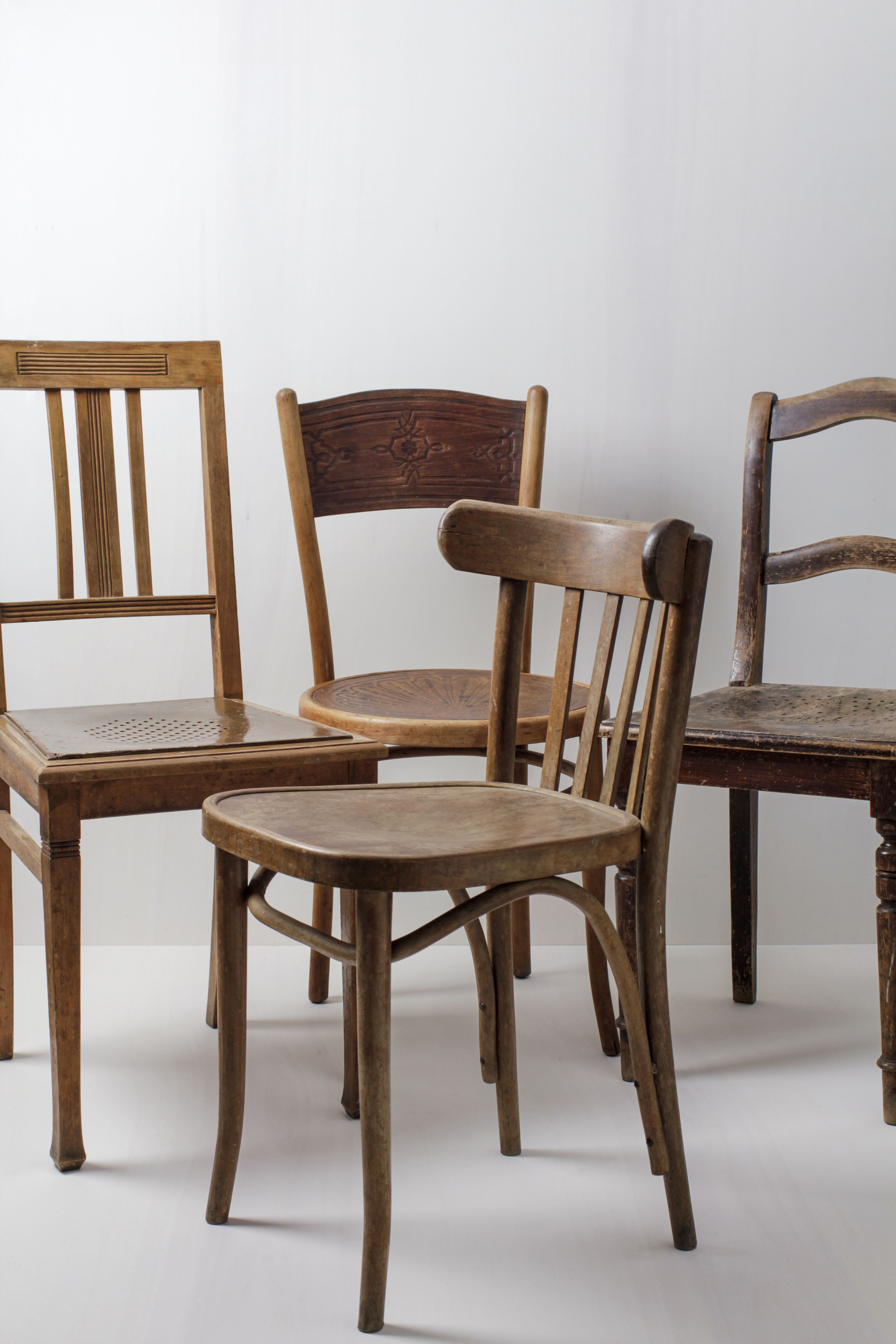 Holzstühle Carlos Mismatching Vintage Braun