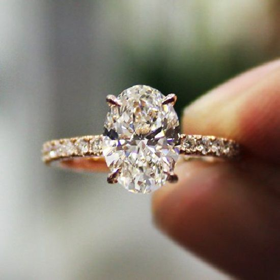 2.30 Ct. Natural Oval Cut Pave Diamond Engagement Ring