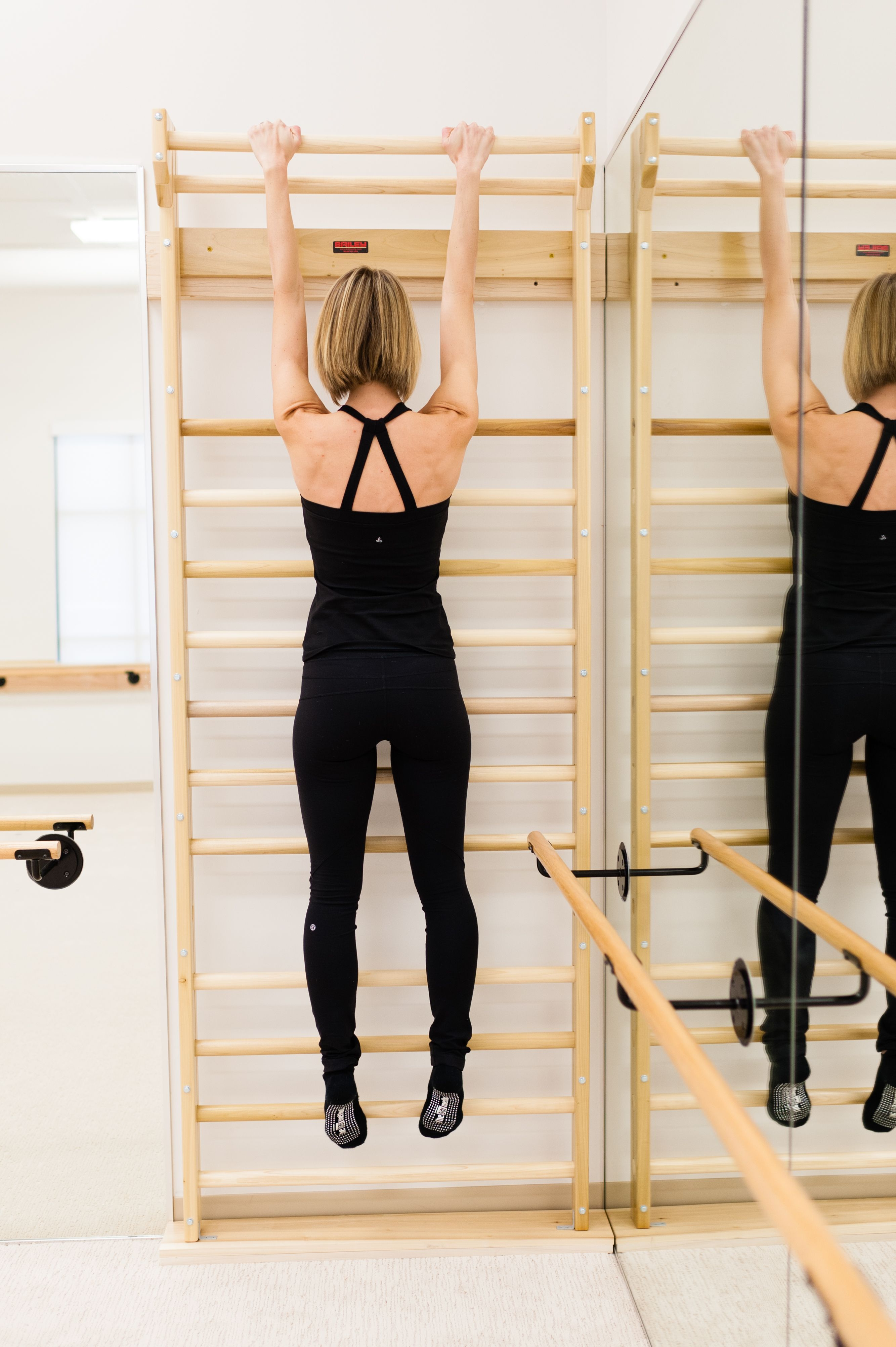 Hang 1 to 2 minutes to increase your back flexibility and