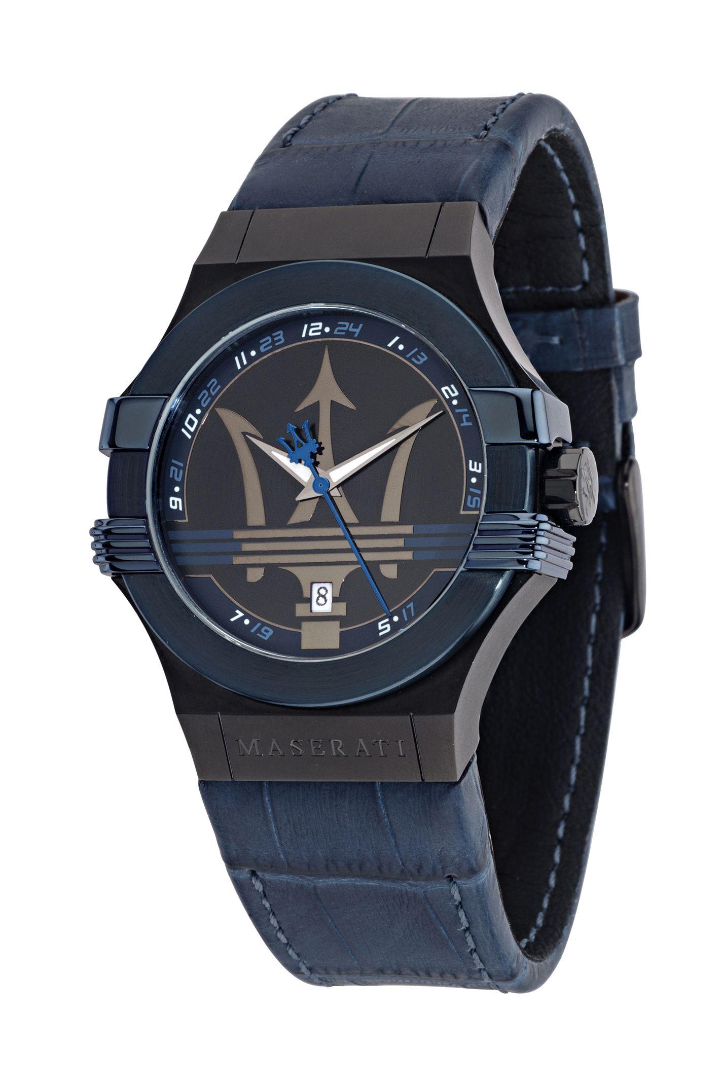 Montre homme en cuir bleu par Maserati – 198.00€ Soyez original et affichez  cette sublime montre bleue nuit à votre poignet pour un look tendance ! db648b1af4c4