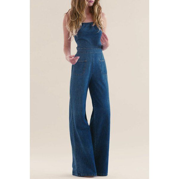 7e48f976b211 Casual Strappy Denim Wide Leg Jumpsuit For Women 70s Inspired Fashion
