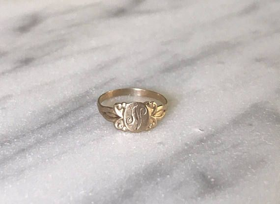 Vintage Baby Childrens Signet Ring N 10 Karat Yellow Antique Gold Jewelry Signet Ring Rings For Men